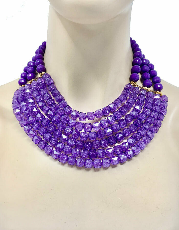 Primary image for Multi-strand Multilayered Purple Lavender Glittered Beads Necklace Earrings