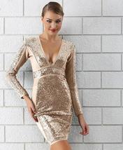 Winter Luxury Sequin Sexy V Neck Bandage Party Dress image 2
