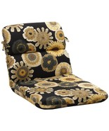 """CC Home Furnishings 40.5"""" Eco- Rounded Outdoor Chair Cushion Black/Yello... - $82.90"""