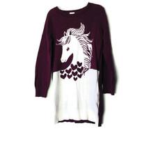 Gymboree Girls Size 6 Unicorn Sweater Dark Red Maroon - $16.79