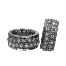 10 MM 925 Sterling Silver Vintage Diamond Rondelle Spacer Bead Finding 2... - $186.07
