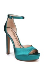 Sam Edelman Wallace Peep Toe Platform Heel Sandal Shoes Jungle Satin Gre... - $93.14