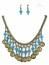 Womens Ladies Chunky Coin Turquoise Mini Cross Multi Strand Bib Necklace Set - $25.99