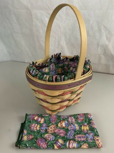 Primary image for Longaberger Easter Basket 1996 Eggs Cloth Liner Matching Cloth Cover