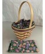 Longaberger Easter Basket 1996 Eggs Cloth Liner Matching Cloth Cover - $24.70