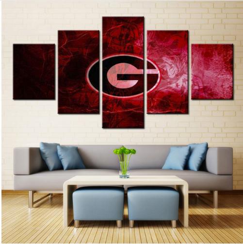 Framed 5 Pcs Georgia Bulldogs Poster Sport Canvas