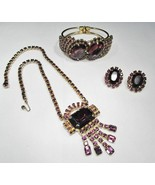 Huge Purple Rhinestone Bracelet Necklace Earrings Set WOW! 7643 - $94.72