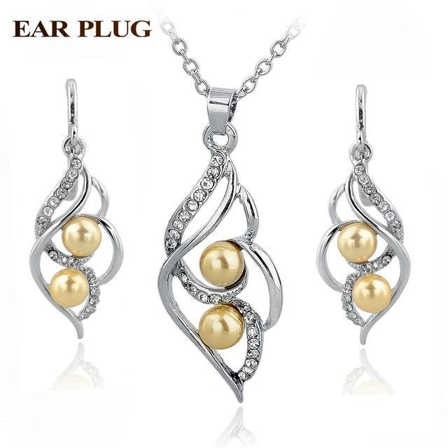 TOUCHEART Simulated Pearl Indian Wedding Jewelry Sets for Women Bridal Crystal G