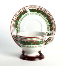 Vintage Lefton Christmas Fine China Tea Cup & Saucer Holly Pattern Hand Painted - $19.54