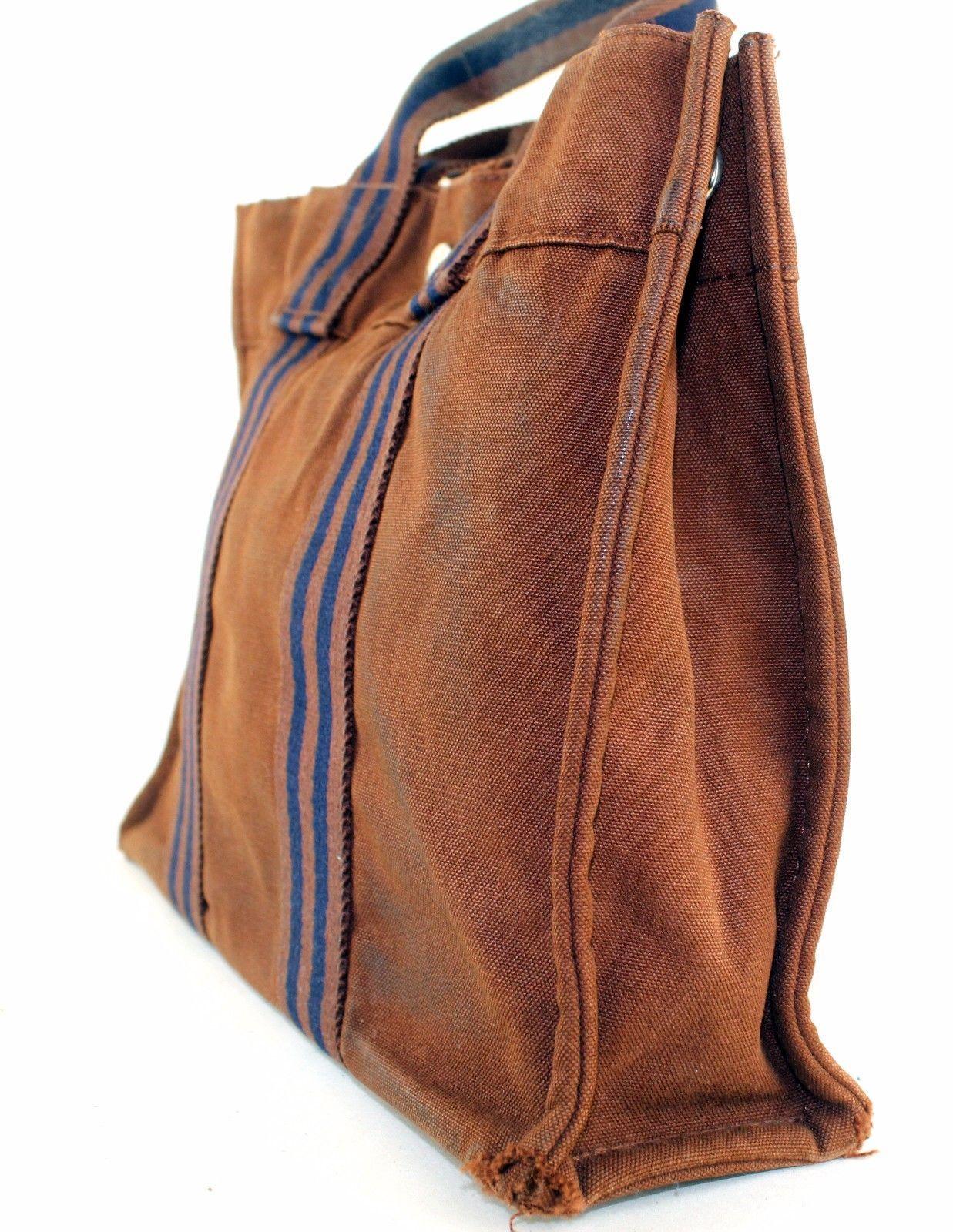 537ef7ad6bd Auth HERMES Paris Fourre Tout MM Brown Cotton Canvas Unisex Small Tote  Handbag