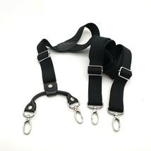 Suspender Straps Black Long Hook Loop Decorative Braces Solid Adjustable... - $23.74