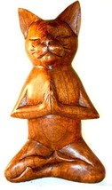 Meditating Yoga Kitty Statue Hand Painted Carved Wood Praying Cat Kitten Siamese - $31.62