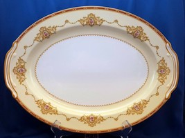 "Noritake Nippon Toki Kaisha N662 Oval Serving Platter 16"" Cream Red ca 1947 - $38.61"