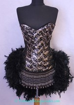 Size L-Gold & Black Showgirl Saloon Girl Can Can Moulin Burlesque Costum... - $129.99