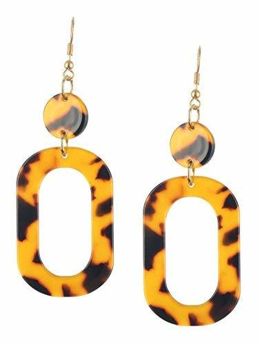 Retro Vintage Style Marble Lucite Stone Dangle Earrings (Brown)