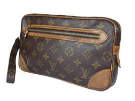 LOUIS VUITTON Marly Dragonne Monogram Canvas Leather Pochette Clutch Bag - $159.00