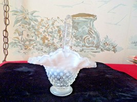 FENTON White/clear Opalescent small hobnail basket - $24.75