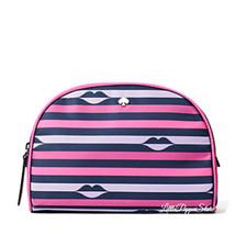 KATE SPADE JAE NYLON LIP PRINT MEDIUM DOME COSMETIC BAG IN PINK MULTI - $42.45