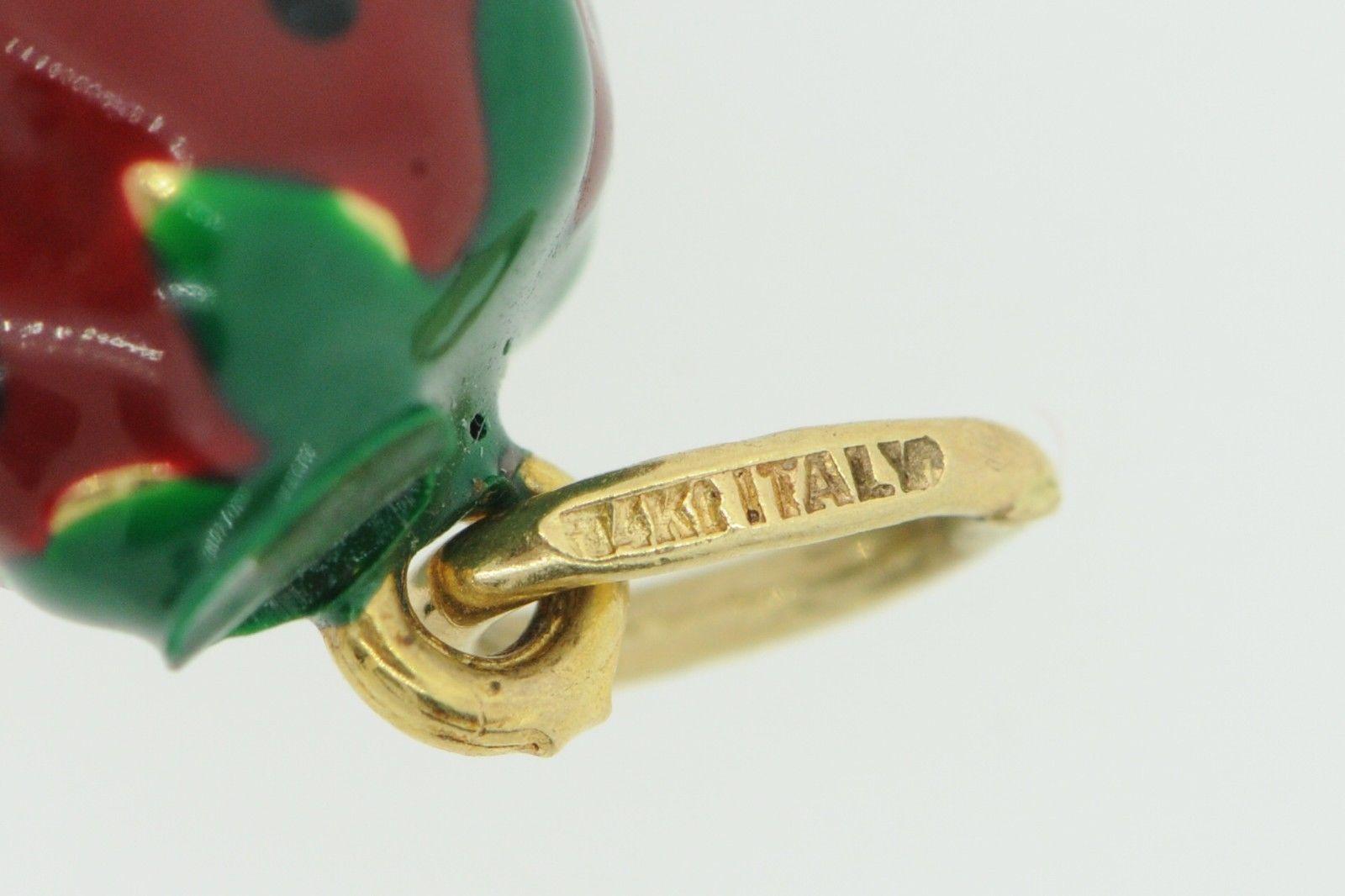Vintage (1980's) 14K Yellow Gold Enameled Strawberry Pendant