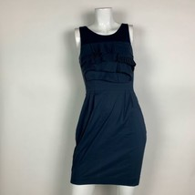 BCBG Maxazria Dress Sheath Ruffled Navy Blue Casual Career Sz 0 - $39.99