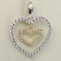 18K YELLOW AND WHITE GOLD HEART DOUBLE PENDANT CHARM WITH CUBIC ZIRCONIA image 1