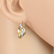 Small Twisted Tri-Color Silver, Gold & Rose Tone Hoop Earrings- United E... - $14.99