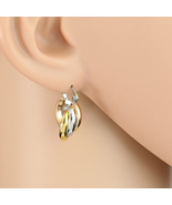 Small Twisted Tri-Color Silver, Gold & Rose Tone Hoop Earrings- United E... - $15.99