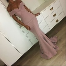 Sexy Mermaid Pink Off-the-Shoulder Plain Long Prom Dresses - $129.00