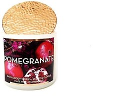 Bath & Body Works Pomegranate Large 3 Wick Candle Cooper Lid 14.5 oz Limited Ed image 1