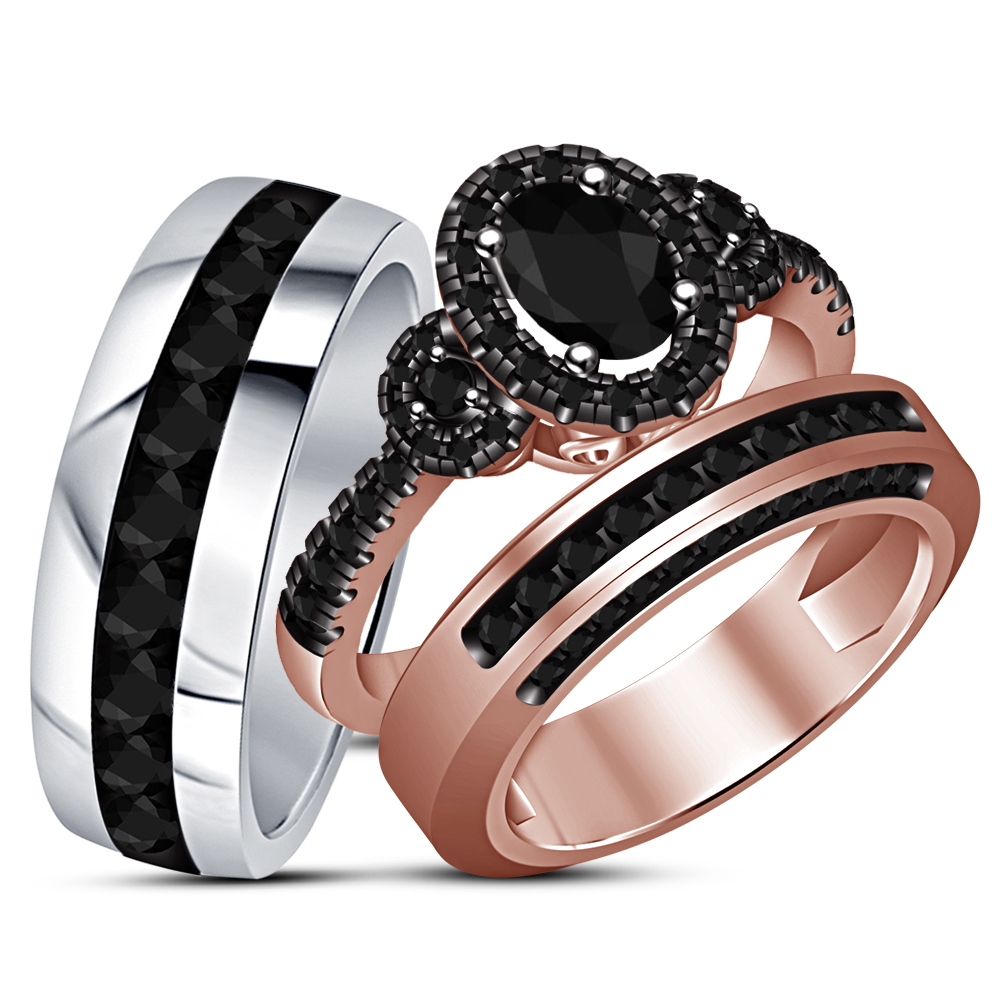 His & Hers Wedding Ring Trio Set 14k Gold Plated 925 Silver Oval Shape Black CZ