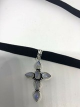 Vintage Genuine Rainbow Moonstone Silver Cross Necklace Choker - $94.05