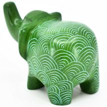 Vaneal Group Hand Crafted Kisii Soapstone Green Elephant Figurine Made in Kenya image 3