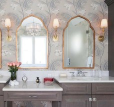 """NEW 2 Moroccan Wall Mirrors Gold 40"""" Arched Foyer Bathroom Horchow Pair  - $673.60"""