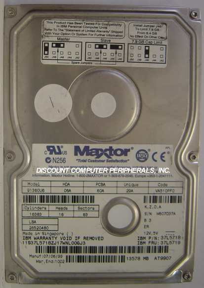 MAXTOR 91360U6 13.5GB 3.5in IDE Drive Tested Good Free USA Shipping