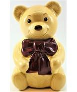 Teddy Bear Cookie Jar Metlox Calif USA Ceramic Cream Body Burgundy Bow Tie - $54.44