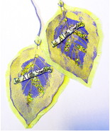 Leaf Shape Tags- Large Oversized- Just A Little Something Msg- Yellow & ... - $2.50
