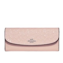 COACH 26814 Signature Patent Leather Wallet SOFT LIGHT PINK Silver NWT - $73.14