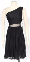 Adrianna Papell Womens Black Chiffon Pleated Party Dress 4 - $39.60