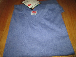 Men's T-Shirt V Neck Medium Hanes Heavy Weight 4 Pc 2 Color 50/50 Cotton... - $18.99