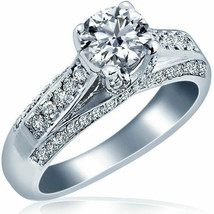 1.06 TCW Classic Round Cut Diamond Engagement Ring 14k White Gold - $2,810.61