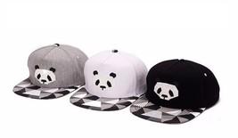 Flat Brimmed Baseball Cap Hip Hop Cute Panda Rubber  Snap Back Adjustabl... - $16.14
