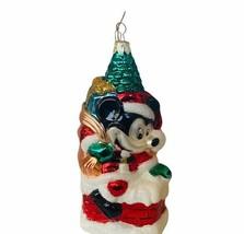 Mickey Mouse Christmas ornament vtg Walt Disney glass santa chimney sack... - $19.25