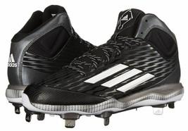Adidas PowerAlley 3 Mens Sz 13 Mid Baseball Shoes AD-5120288 Black White Grey  - $46.74