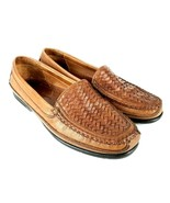 JOHNSTON & MURPHY Passport Woven Leather Loafers Brown Casual Shoes Mens size 12 - $39.59