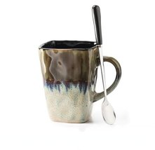 Brown White Flow Glaze Cups With Spoon Continental Tea Set Coffee Milk T... - $30.30