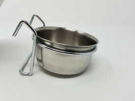2 Cups Pet Stainless Steel Coop Cup Dog Or Bird Cage Food or Water 10 ou... - $4.94