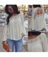 Fashion Women Bell Sleeves Embroidery Top Blouse Lace Crochet Chiffon S... - $32.77