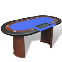 Blue Poker Card Table Dealer Area Chip Tray Artificial Leather 10-Player... - $333.69