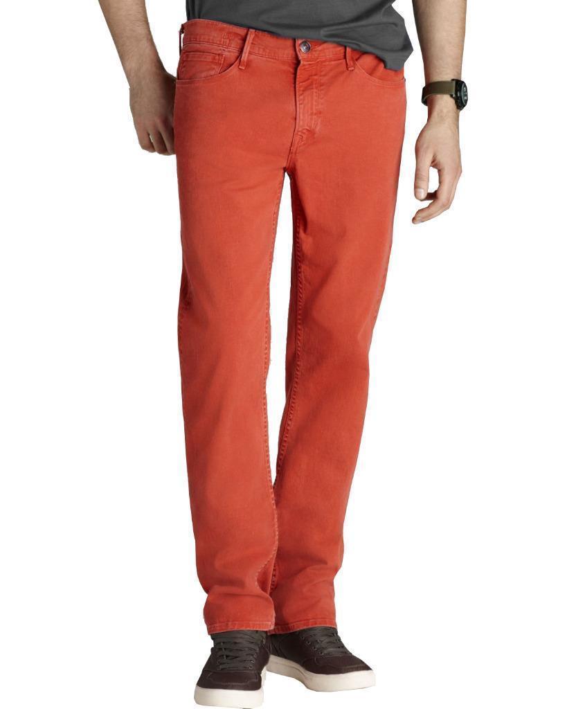 Earnest Sewn Men's Premium Fulton Straight Twill Jean Pants Sulphur Red 634