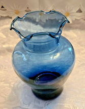 "Vintage Ruffled Collar Blue Glass Vase 6"" by 6"" image 7"